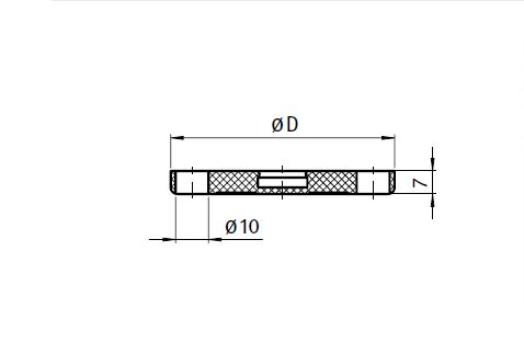 Anti-slip Plate for Swivel Feet, Ball Joint 15 and Ball Joint 22 Parameter drawing 2D