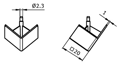 Cover Cap for 3-way Connection Angle 20 Nylon PA, Profile 20, Angular Parameter drawing 2D