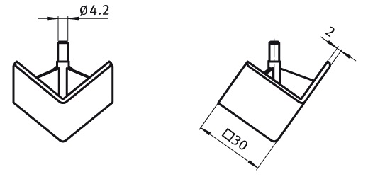 Cover Cap for 3-way Connection Angle 30 Nylon PA, Profile 30, Angular Parameter drawing 2D