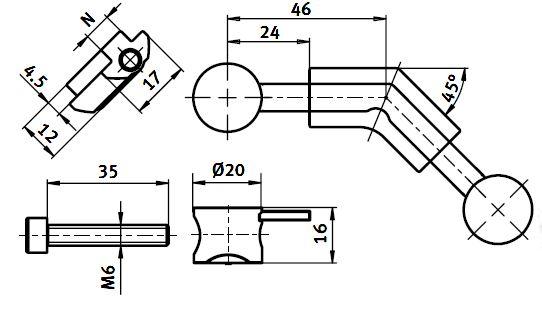 Universal Mitre Butt Connector Die-cast zinc, Slot 8 Manufacturer 2D