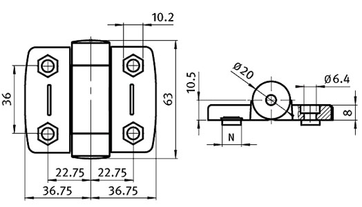 System Hinge 40 with Adjustable Friction,  with Cover Caps Parameter drawing 2D