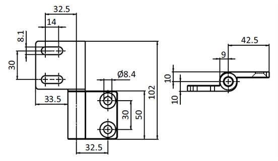 Set Heavy Aluminum Hinge,  Detachable, Adjustable Parameter drawing 2D