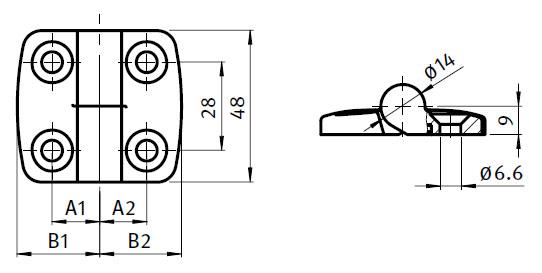 Stainless Steel Combi Hinge 25,  Detachable Parameter drawing 2D
