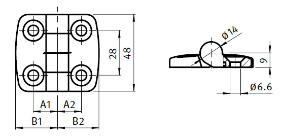 Stainless Steel Combi Hinge 25,  Non-detachable Parameter drawing 2D