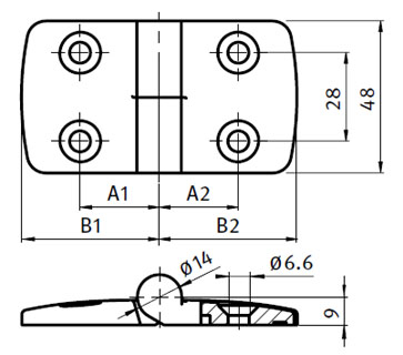 Stainless Steel Combi Hinge 45, Detachable Parameter drawing 2D