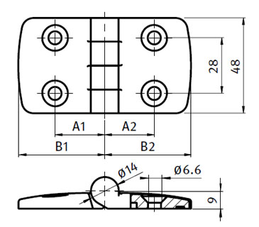 Stainless Steel Combi Hinge 45 , Non-detachable Parameter drawing 2D
