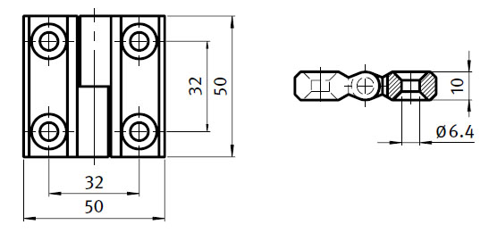 Stainless Steel Hinge,  Detachable, Right and Left Application Parameter drawing 2D