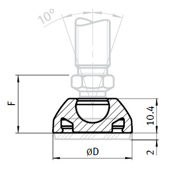 Base for Swivel Feet, Ball Joint 10, Nylon PA, without Bolt-down Holes Parameter drawing 2D