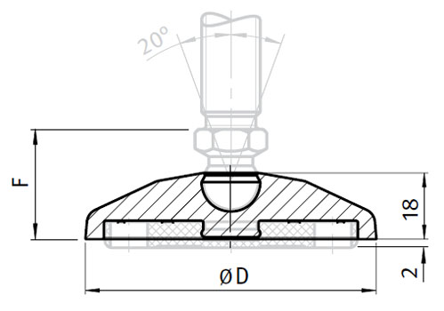 Base for Swivel Feet, Ball Joint 15, Nylon PA, without Bolt-down Holes Parameter drawing 2D