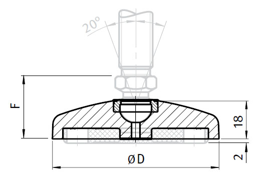 Base for Swivel Feet, Ball Joint 15, Die-cast Zinc, without Bolt-down Holes Parameter drawing 2D