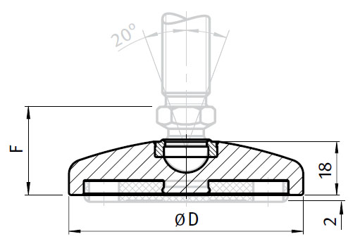 Base for Swivel Feet, Ball Joint 15, Stainless Steel, without Bolt-down Holes Parameter drawing 2D