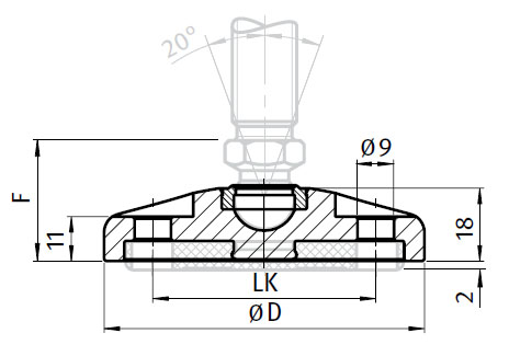 Base for Swivel Feet, Ball Joint 15, Stainless Steel, with Bolt-down Holes Parameter drawing 2D