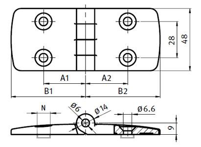 Plastic Combi Hinge 60,  Non-detachable Parameter drawing 2D