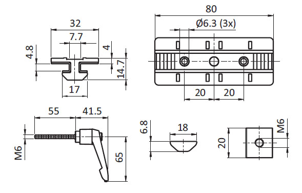 Profile Slider ZN 40 x 80 with Clamp Lever (Set), Slot 8 Parameter drawing 2D