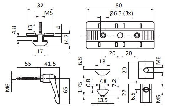 Profile Slider ZN 40 x 80 Loose Bearing w. Clamp Lever (Set), Slot 8 Parameter drawing 2D