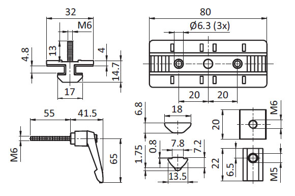 Profile Slider ZN 40 x 80 Fixed Bearing w. Clamp Lever (Set), Slot 8 Parameter drawing 2D
