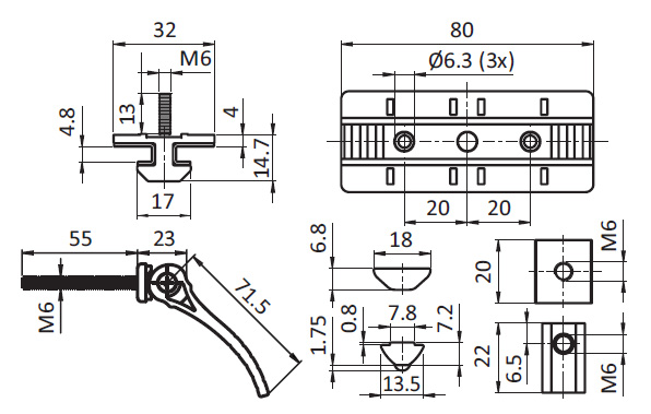 Profile Slider ZN 40 x 80 Fixed Bearing w. Cam Lever (Set), Slot 8 Parameter drawing 2D