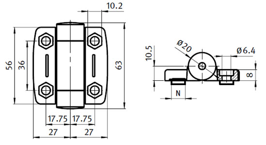 System Hinge 30 with Adjustable Friction,  with Cover Caps Parameter drawing 2D