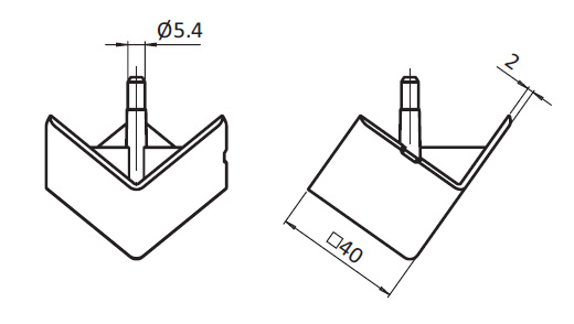 Cover Cap for 3-way Connection Angle 40, Nylon PA, Profile 40, Angular Parameter drawing 2D