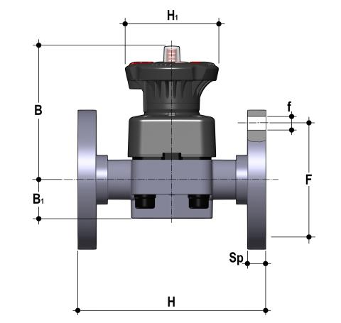 DIALOCK® diaphragm valve with fixed flanges, drilled ANSI B16.5 cl. 150 #FF Dimensioned drawing 2D