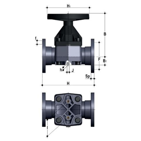 Diaphragm valve with fixed flanges, drilled PN10/16. Face to face according to EN 558-1 Dimensioned drawing 2D