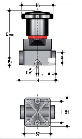 Compact diaphragm valve with female ends for solvent welding, metric series Dimensioned drawing 2D