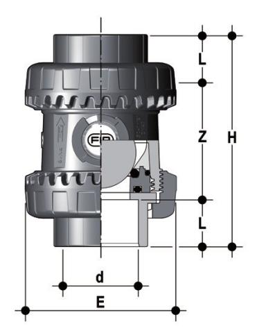 Easyfit ball check valve with female ends for solvent welding, BS series Dimensioned drawing 2D