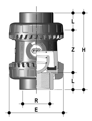 Easyfit spring check valve with female ends, NPT thread Dimensioned drawing 2D