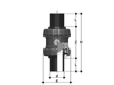 Easyfit ball check valve with PE100 SDR 11 male ends for butt welding or electrofusion welding (CVDE) Dimensioned drawing 2D
