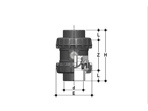 Easyfit spring check valve with female ends for solvent welding, BS series Dimensioned drawing 2D