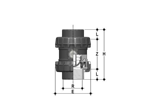 Easyfit spring check valve with female ends, JIS thread Dimensioned drawing 2D