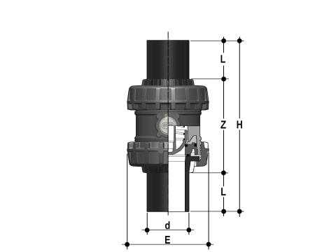 Easyfit spring check valve with PE100 SDR 11 male end connectors for butt welding or electrofusion (CVDE) Dimensioned drawing 2D