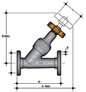 Angle seat valve with fixed flanges, drilled PN10/16 Dimensioned drawing 2D