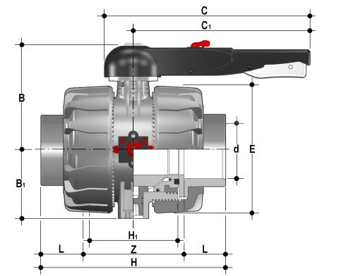 DUAL BLOCK® 2-way ball valve with female ends for solvent welding, JIS series Dimensioned drawing 2D