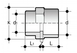 Reducer: solvent weld double socket (fig. B) MRIV (B) Dimensioned drawing 2D