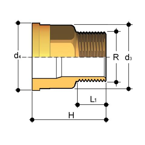 Union end in brass with male BSP thread Q/BRO Dimensioned drawing 2D