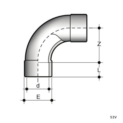 90° long radius bend (R=2D) with solvent weld sockets SLV Dimensioned drawing 2D