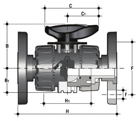 DUAL BLOCK® regulating ball valve with ANSI B16.5 cl.150#FF fixed flange Dimensioned drawing 2D