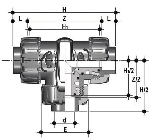 DUAL BLOCK® 3-way ball valve with female ends for solvent welding, BS series TKDLV - T-port ball Dimensioned drawing 2D