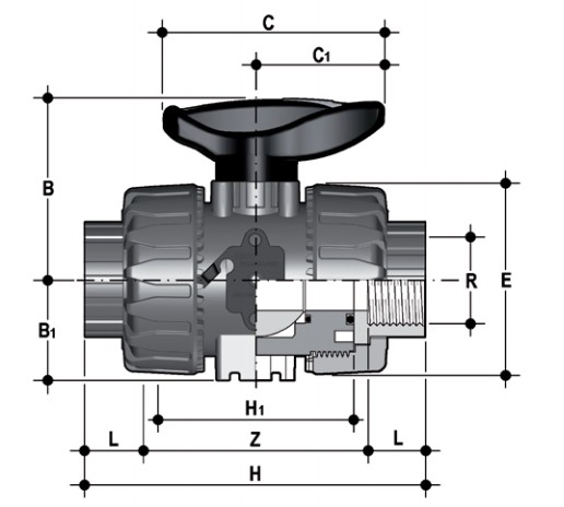 DUAL BLOCK® 2-way ball valve with female ends, NPT thread Dimensioned drawing 2D