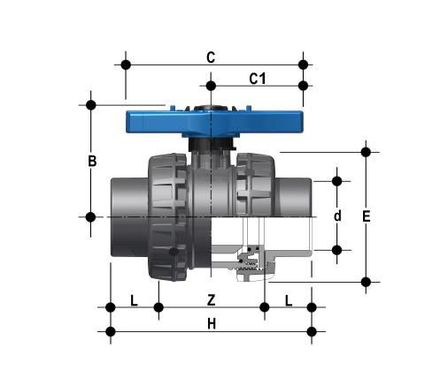 Easyfit 2-way ball valve with female ends, JIS series Dimensioned drawing 2D