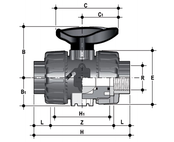 DUAL BLOCK® 2-way ball valve with female ends, JIS thread Dimensioned drawing 2D