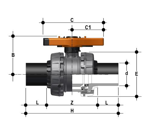 Easyfit 2-way ball valve with PE100 SDR 11 male connectors for butt welding or electrofusion (CVDE) Dimensioned drawing 2D