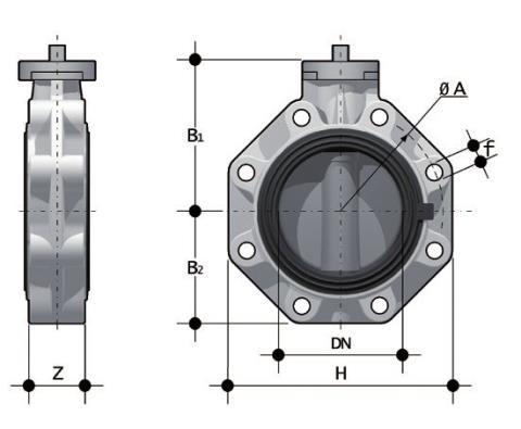 Bare shaft Butterfly valve, version Lug ISO-DIN Dimensioned drawing 2D