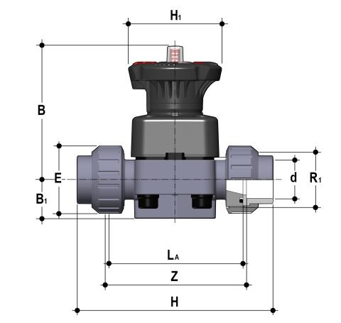DIALOCK® diaphragm valve with female union ends for solvent welding, metric series Dimensioned drawing 2D