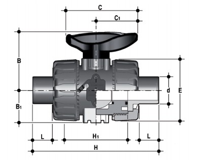 DUAL BLOCK® 2-way ball valve with male ends for solvent welding, metric series Dimensioned drawing 2D