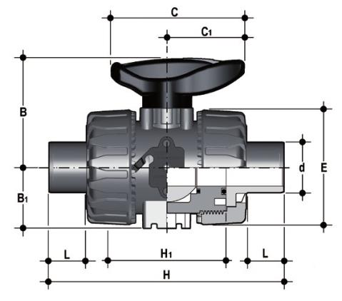 DUAL BLOCK® 2-way ball valve with male ends for socket welding, metric series Dimensioned drawing 2D