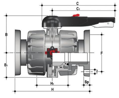 DUAL BLOCK® 2-way ball valve with fixed flanges, drilled EN/ISO/DIN PN10/16. Face to face according to EN 558-1 Dimensioned drawing 2D
