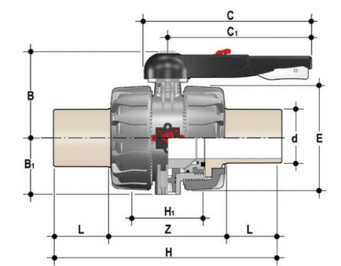 DUAL BLOCK® 2-way ball valve with long spigot male ends in PP-H SDR 11 for butt welding or electrofusion (CVDM) Dimensioned drawing 2D