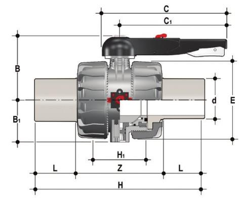 DUAL BLOCK® 2-way ball valve with long spigot male ends in PVDF for butt welding/ IR (CVDF) Dimensioned drawing 2D